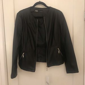 Zara collarless faux leather jacket size L NEW
